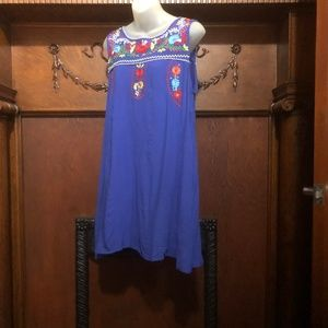 Vintage royal blue A-line embroidered dress